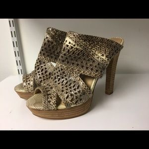 BCBGMaxazria python punched leather sandals size 7